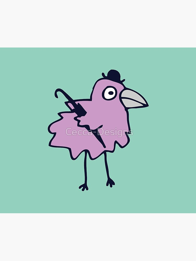 Business Bird - Lilac on Mint green - cute bird pattern by Cecca Designs by Cecca-Designs