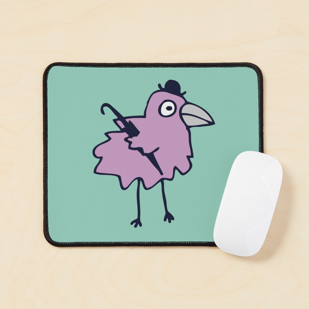 Business Bird - Lilac on Mint green - cute bird pattern by Cecca Designs Mouse Pad