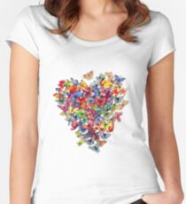 butterfly heart Women's Fitted Scoop T-Shirt
