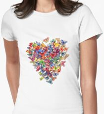 butterfly heart Womens Fitted T-Shirt