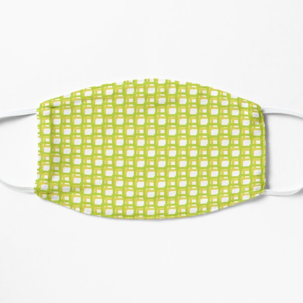 Green Yellow Woven Squares Flat Mask