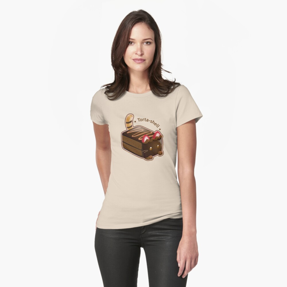 Purrista Pawfee: Cute Chocolate Cake Cat Fitted T-Shirt