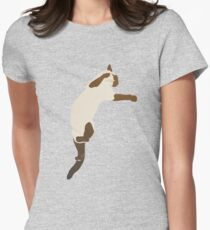 Leaping Siamese Cat Womens Fitted T-Shirt