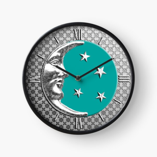 Art Deco Moon and Stars, Turquoise  Clock