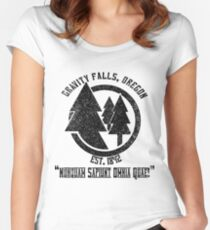 Gravity Falls Town Emblem & Motto Women's Fitted Scoop T-Shirt