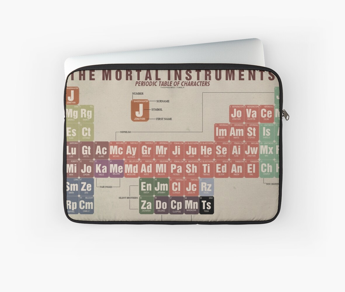 The mortal instruments periodic table of character laptop sleeves the mortal instruments periodic table of character by thespngames gamestrikefo Choice Image