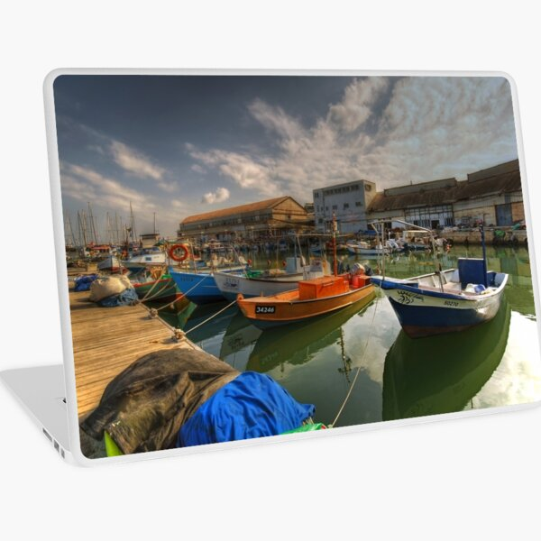 resting boats at the Jaffa port Laptop Skin