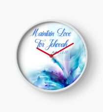 Maintain Love for Jehovah Blue and Purple Flower 1 Clock