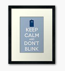 Keep Calm And Don't Blink ver.lightblue Framed Print