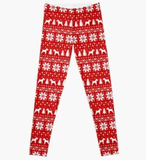Wire Fox Terrier Silhouettes Christmas Sweater Pattern Leggings