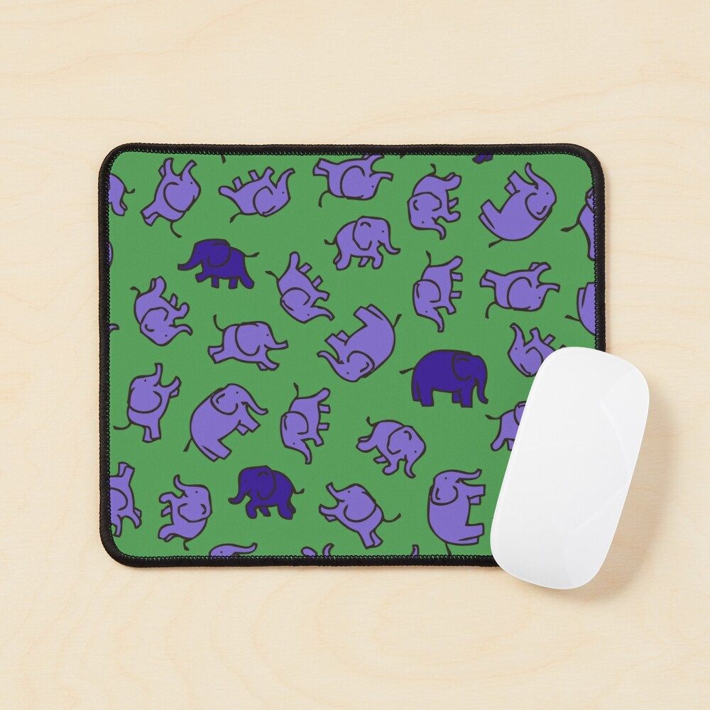 Elephants - Lilac and Blue on Green - cute, fun pattern by Cecca Designs Mouse Pad