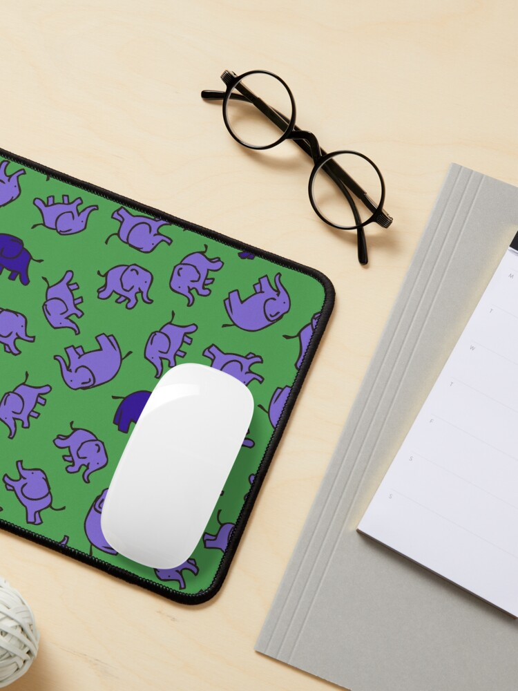 Alternate view of Elephants - Lilac and Blue on Green - cute, fun pattern by Cecca Designs Mouse Pad