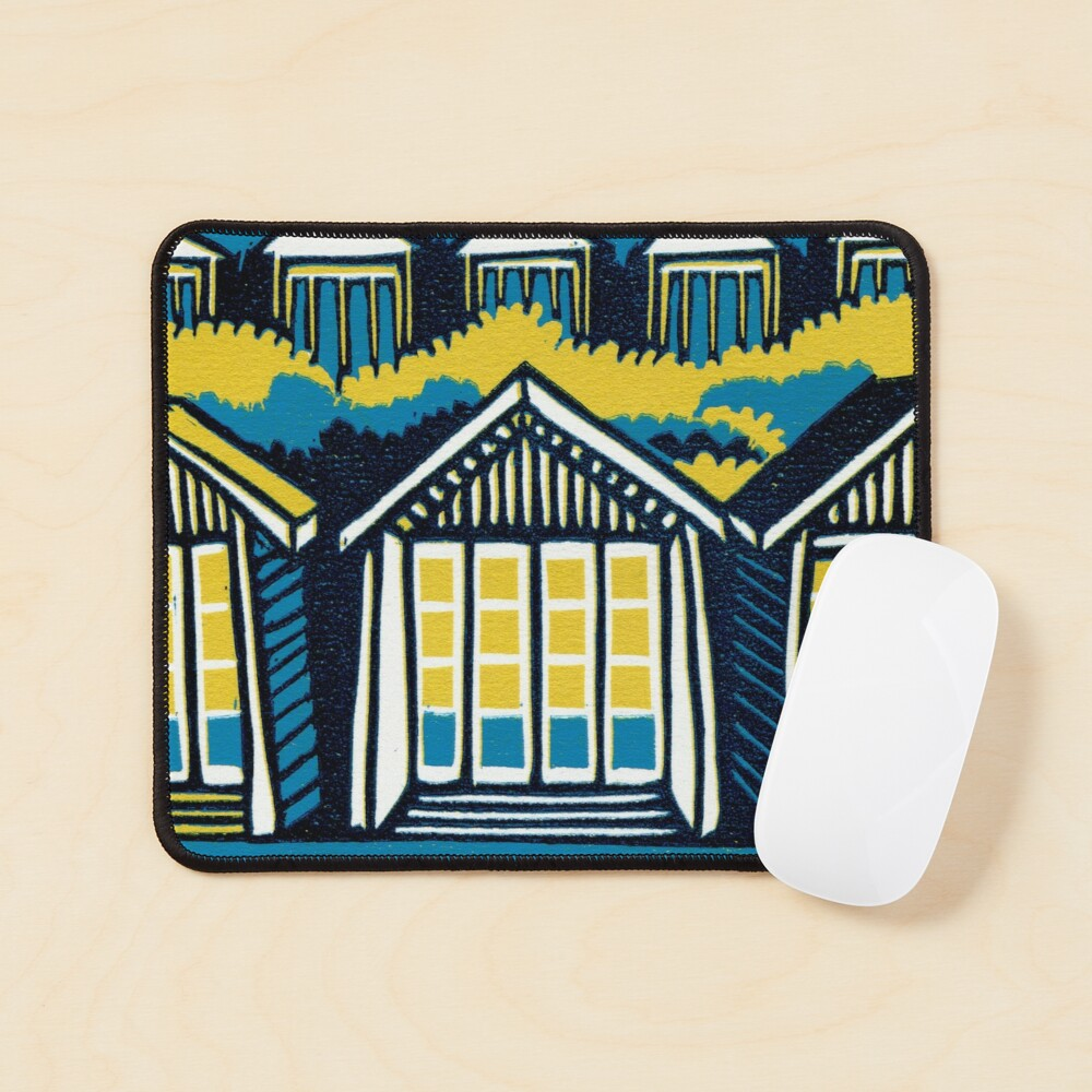 Beach Huts, Bournemouth -  Teal and Mustard - Original Linocut by Francesca Whetnall Mouse Pad