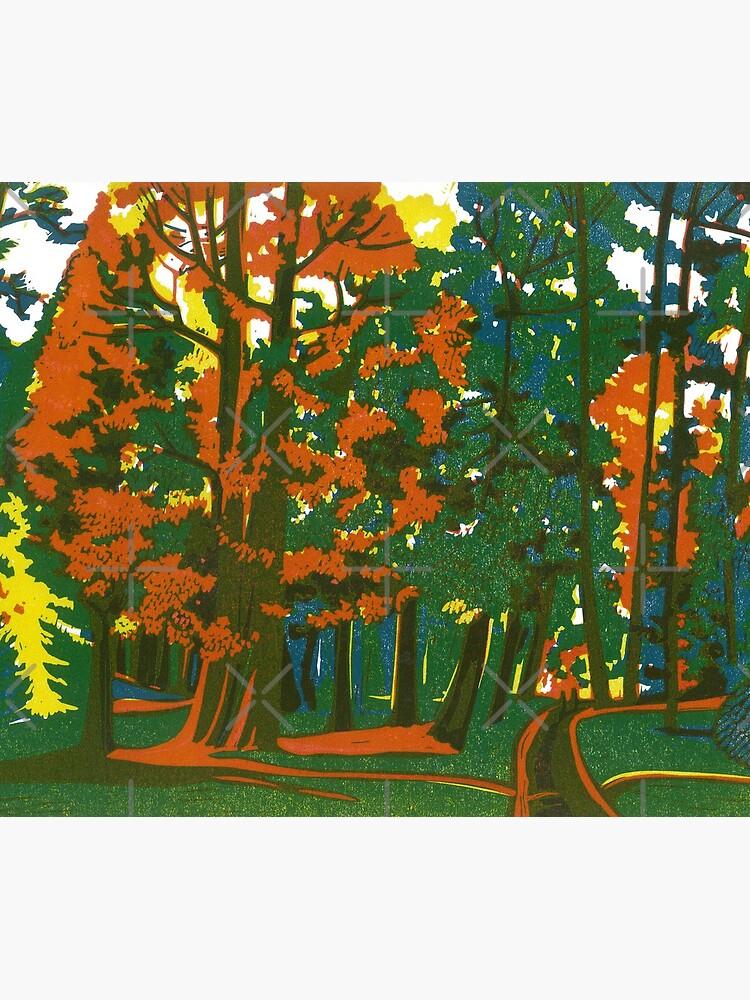 Bournemouth Gardens - Original linocut by Francesca Whetnall by Cecca-Designs