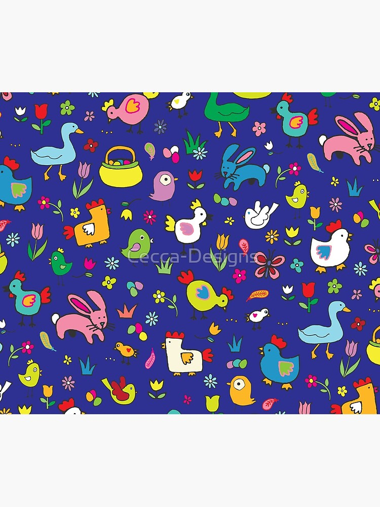 Spring Chicks and Bunnies - Blue - cute Easter pattern by Cecca Designs by Cecca-Designs