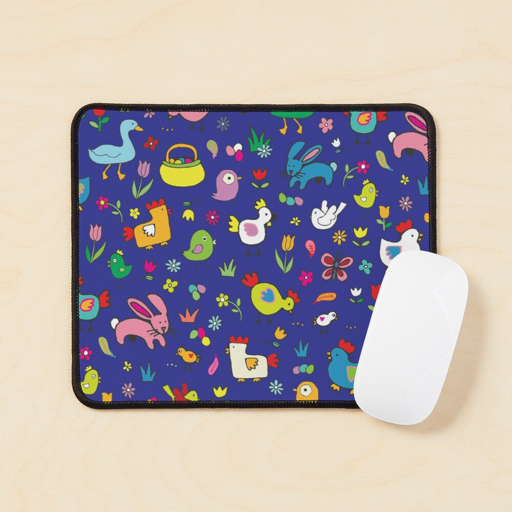 Spring Chicks and Bunnies - Blue - cute Easter pattern by Cecca Designs Mouse Pad