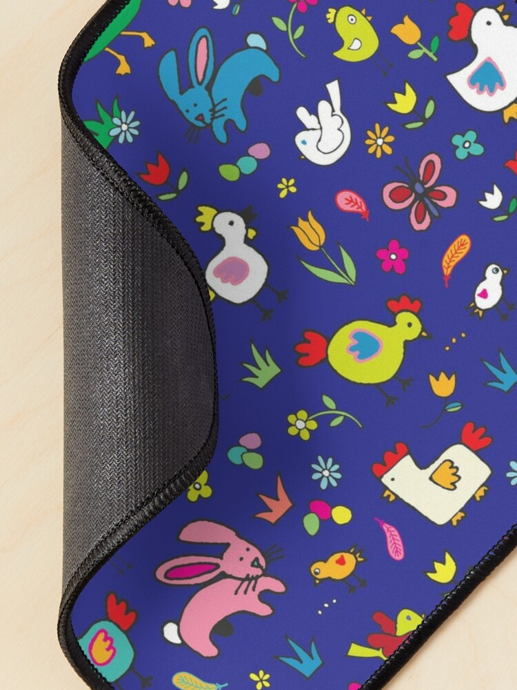 Alternate view of Spring Chicks and Bunnies - Blue - cute Easter pattern by Cecca Designs Mouse Pad