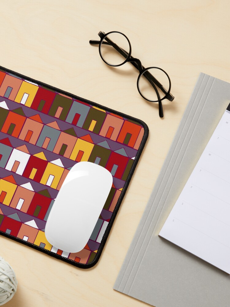Alternate view of Beach Huts - Plum and Burgundy - Geometric pattern by Cecca Designs Mouse Pad