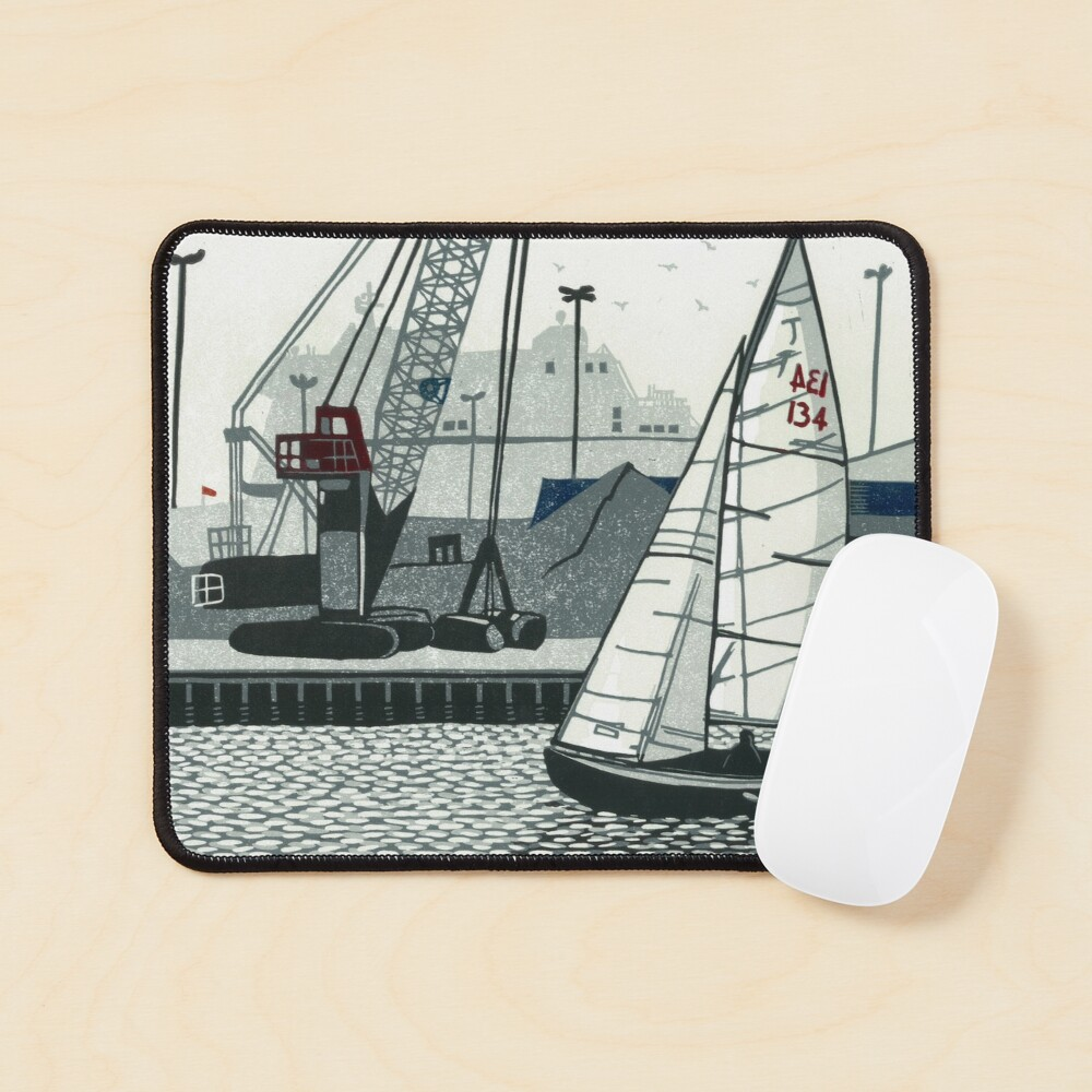 Poole Quay - Original linocut by Francesca Whetnall Mouse Pad