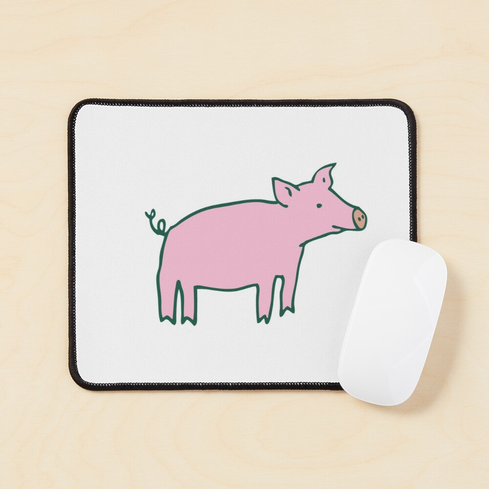 Simple Pig - pink and white - cute animal pattern by Cecca Designs Mouse Pad