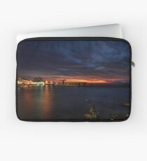 a flaming sunset at Tel Aviv port Laptop Sleeve