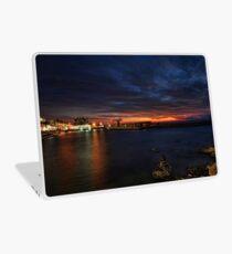 a flaming sunset at Tel Aviv port Laptop Skin
