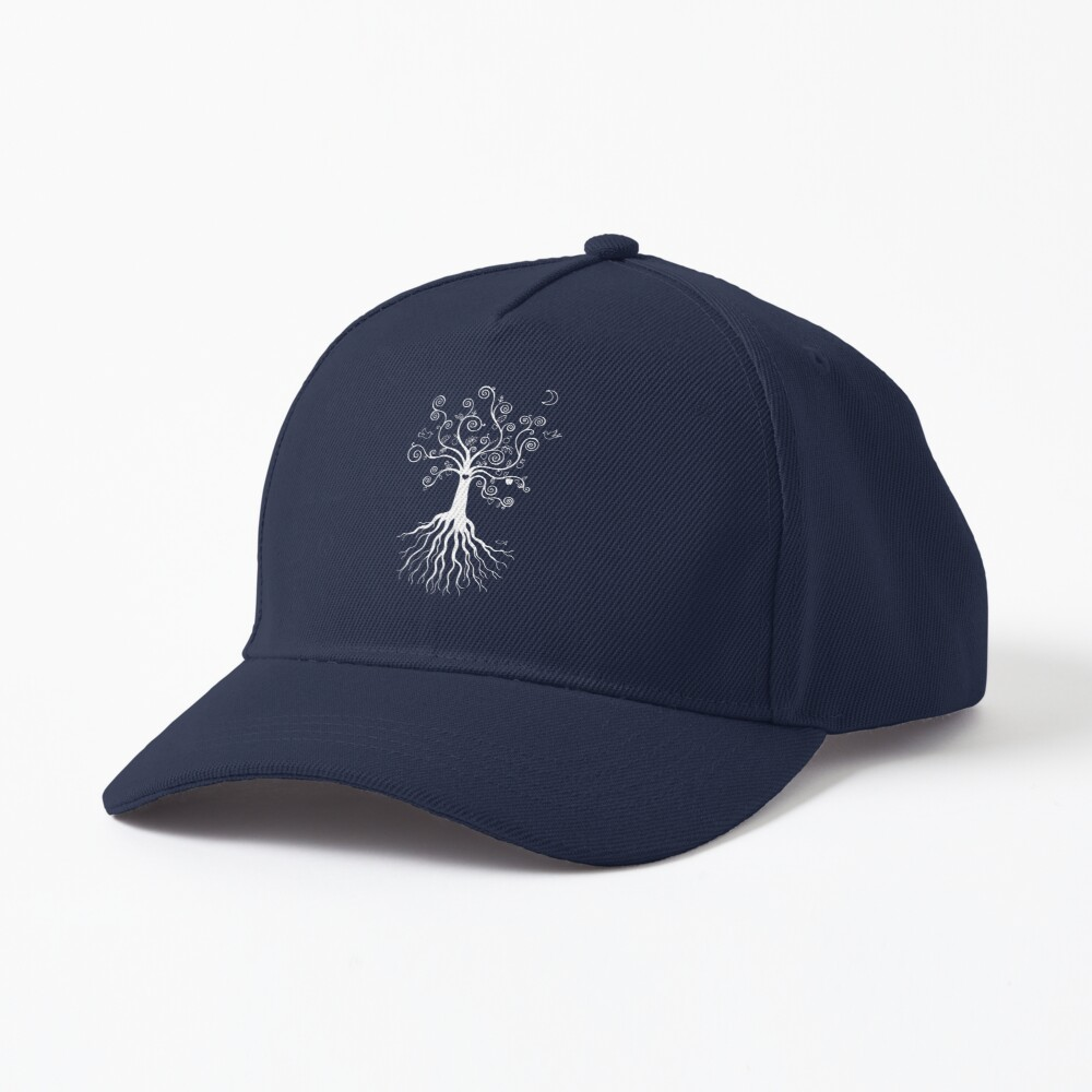 Tree of Life - white on pale blue by Cecca Designs Cap