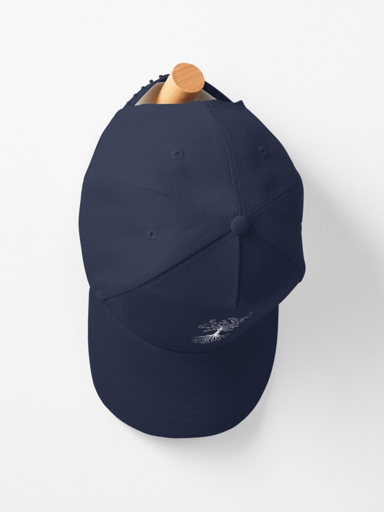 Alternate view of Tree of Life - white on pale blue by Cecca Designs Cap