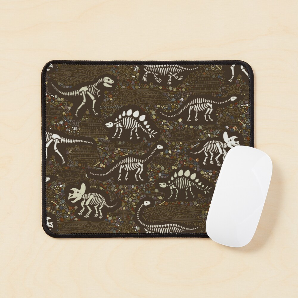 Dinosaur Fossils - cream on brown - Fun graphic pattern by Cecca Designs Mouse Pad