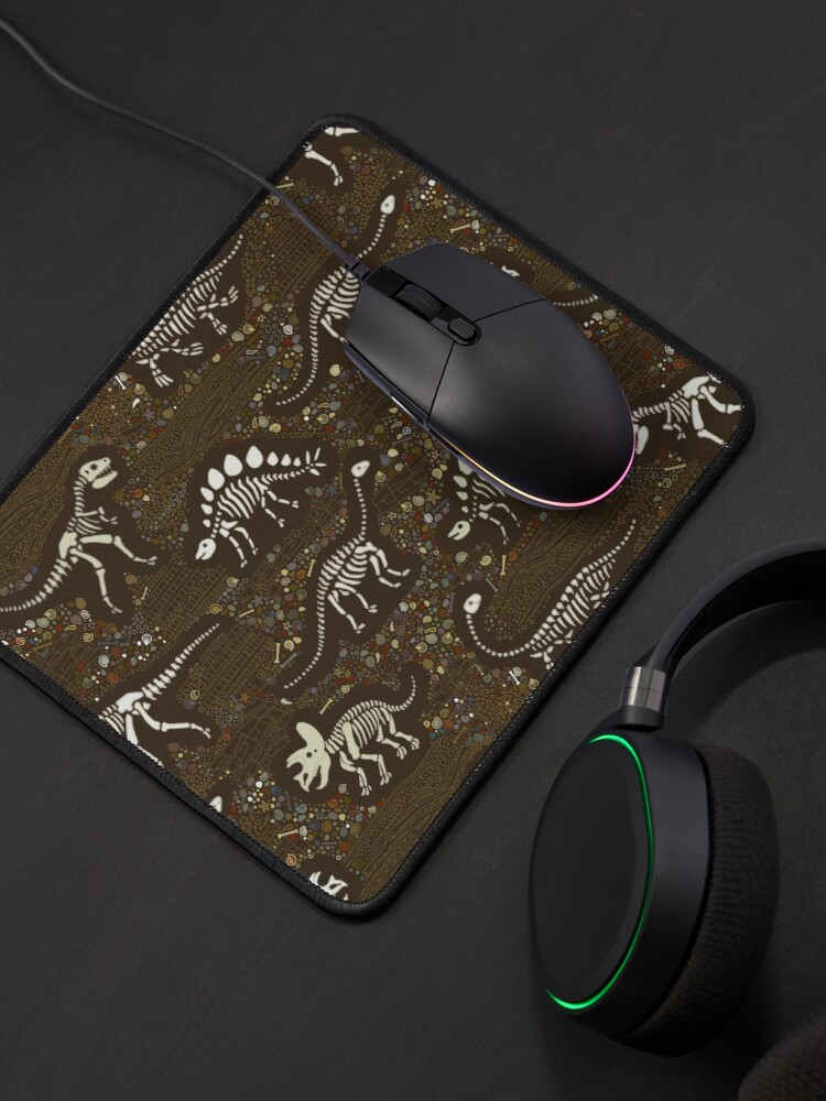 Alternate view of Dinosaur Fossils - cream on brown - Fun graphic pattern by Cecca Designs Mouse Pad