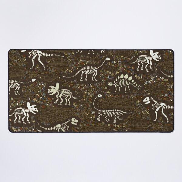 Dinosaur Fossils - cream on brown - Fun graphic pattern by Cecca Designs Desk Mat