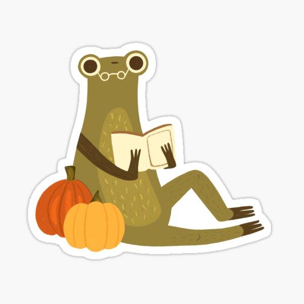 Cute frog reading a book Pumpkin version Sticker