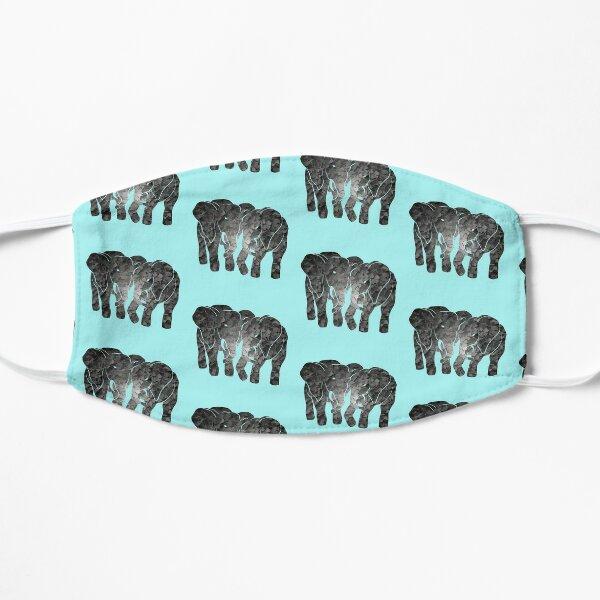 Two elephants (Aqua) Flat Mask