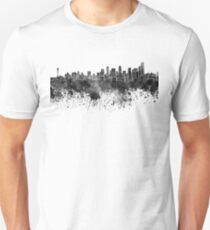 Seattle skyline in black watercolor on white background T-Shirt