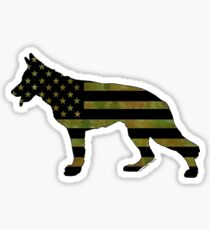 German Shepherd: Camo American Flag Sticker