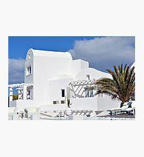 White architecture in Santorini, Greece Photographic Print