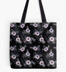 Seamless floral pattern with anemone flowers, romantic print black background Tote Bag