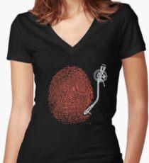Dj fingerprint Women's Fitted V-Neck T-Shirt