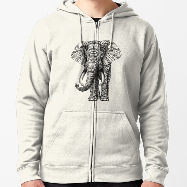 Ornate Elephant Zipped Hoodie