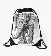 Ornate Elephant Drawstring Bag