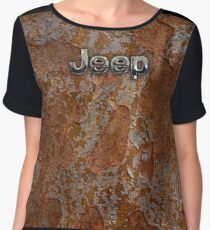 Rustic Jeep with chrome typograph Chiffon Top