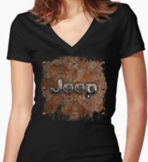 Rustic Jeep with chrome typograph Women's Fitted V-Neck T-Shirt
