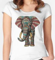 Ornate Elephant (Color Version) Fitted Scoop T-Shirt