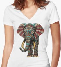 Ornate Elephant (Color Version) Women's Fitted V-Neck T-Shirt