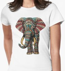 Ornate Elephant (Color Version) Women's Fitted T-Shirt