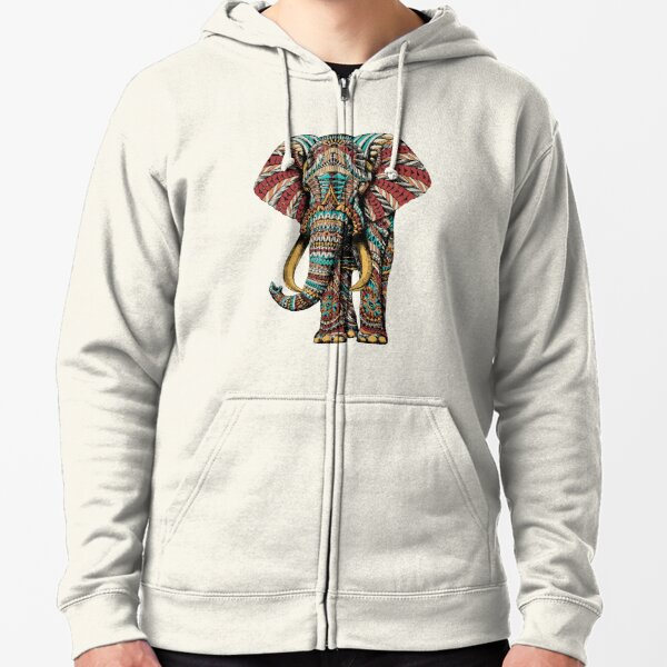 Verzierter Elefant (Farbversion) Kapuzenjacke