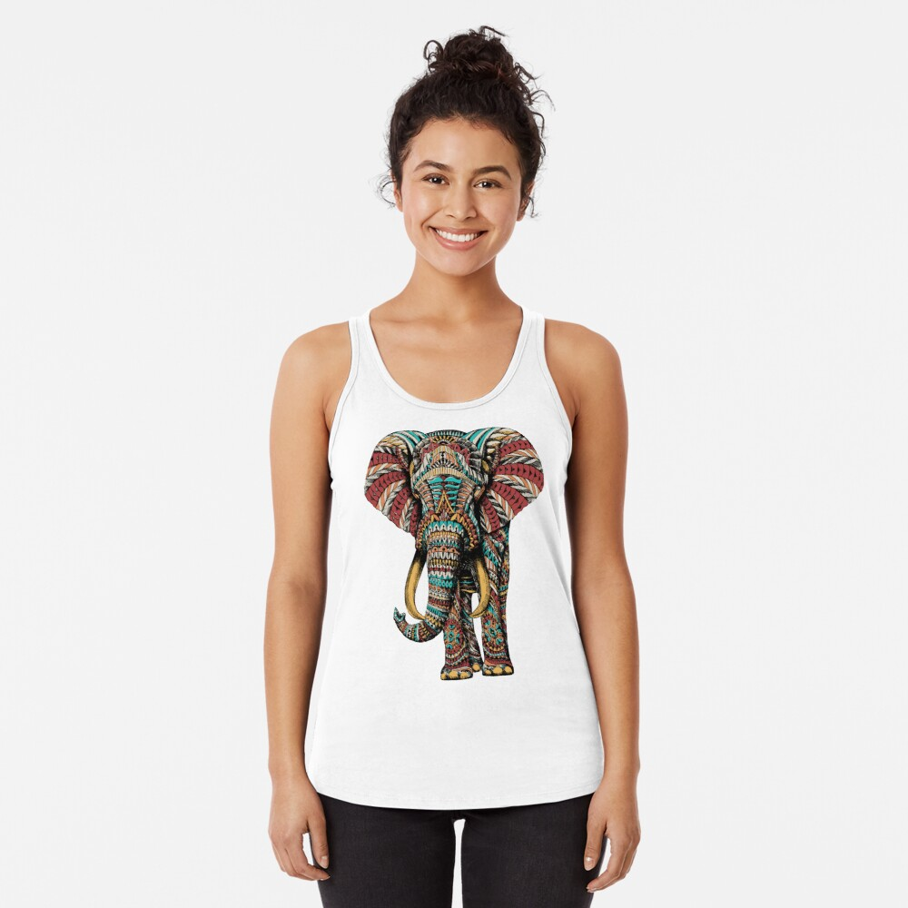 Ornate Elephant (Color Version) Racerback Tank Top