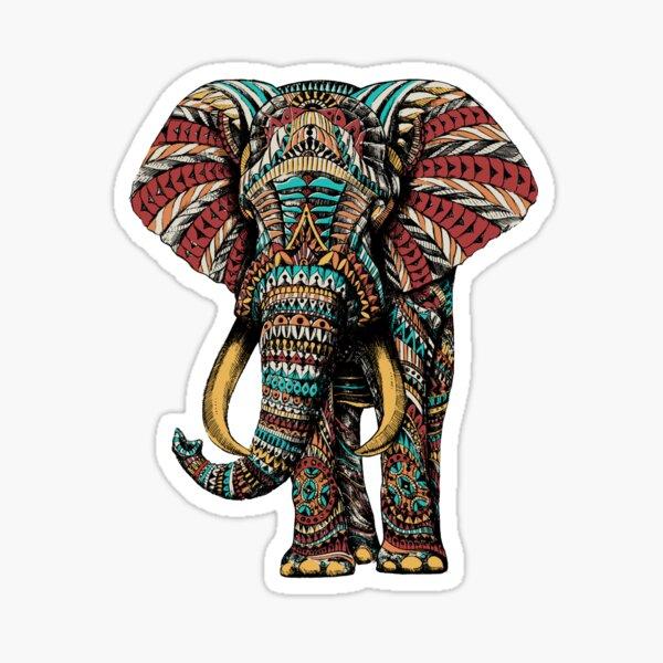 Ornate Elephant (Color Version) Sticker