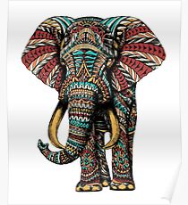 Ornate Elephant (Color Version) Poster
