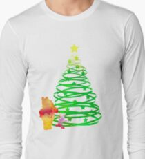 Christmas Bear and Pig Inspired Silhouette Long Sleeve T-Shirt